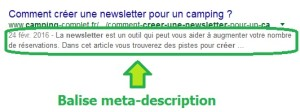Balise meta-description sur Google