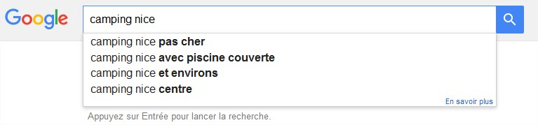 Les suggestions de Google